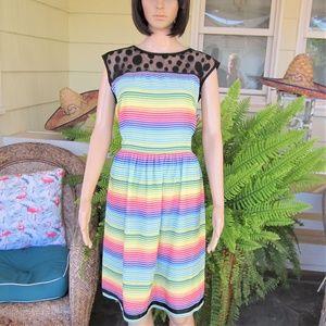 Modcloth Rainbow Striped Polka Dot Day Dress XL